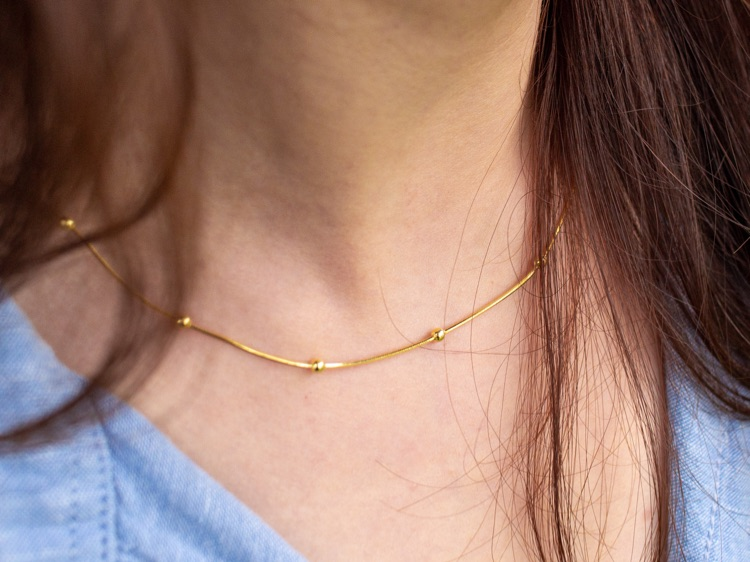 Dainty Beaded Gold Necklace / 18k Gold Plated Gold Vermeil / Delicate Beaded Necklace / Gold Necklace / Layering Beaded Chain