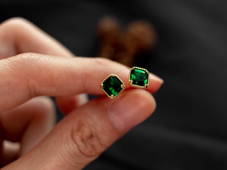 Elegant Emerald Stud Earrings / Minimalist Studs / Emerald CZ Studs / Gold Earrings / Dainty Earrings / Emerald Earrings & Necklace Set