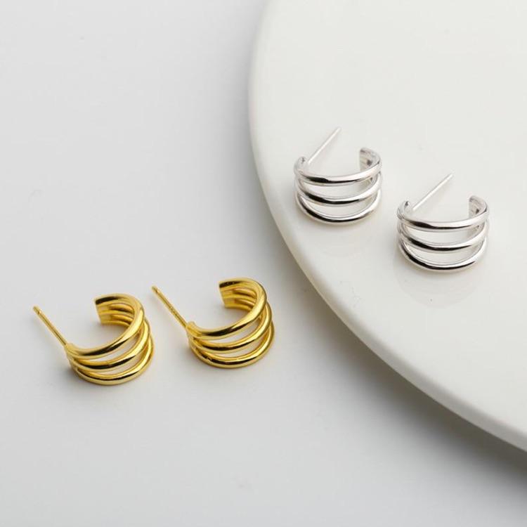 Gold Mini Triple Circle Hoop Earrings/ Minimalistic / 18k Gold Vermeil Sterling Silver / Multi-layer / Geometric / Sensitive Ears /