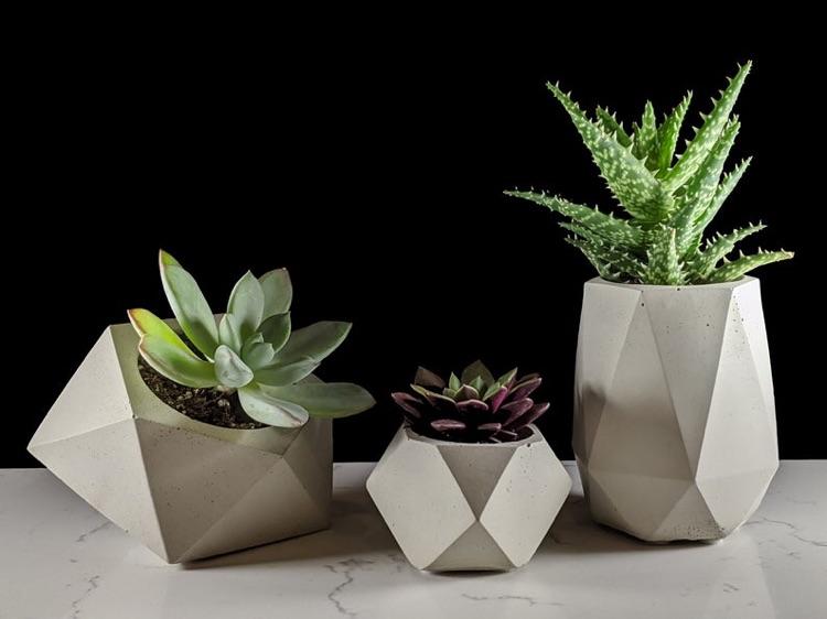 Geometric succulent planter set of 3 - Gray