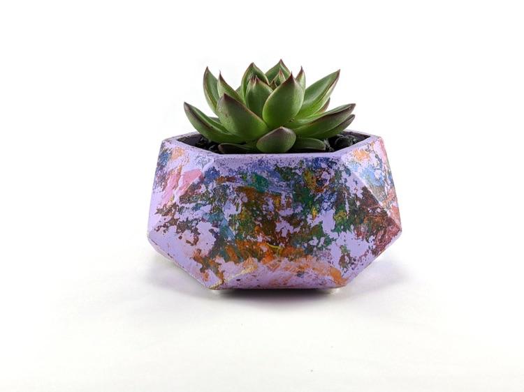 Swirled painted hexagonal succulent planter